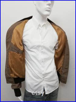 1735 5000 Patermo Man Jacket in pure Wool, Hazelnut color and brown or beige collar, Blouson high quality handmade jacket
