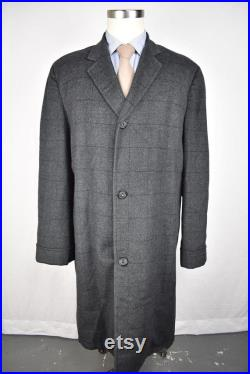 1960's First Ave Styling Gray Windowpane Check Wool Three Button Overcoat Sz 42