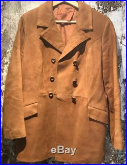 1960's Kid Suede Pea Coat Double Breasted Tan