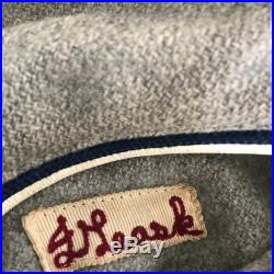 1960's Lasley Knitting Co Varsity Jacket Gray with blue striped ribbing Size 40