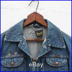 1960's Pleated Front Zip Up Wrangler Denim Jacket with Embroidery
