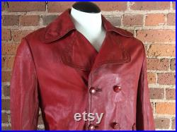 1970s Red Leather Jacket Men M Women L Vintage Distressed Button Up Long Red Leather Jacket with Pockets