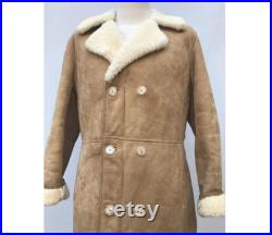 1970s SHEARLING natural brown double breasted COAT fitted Sheepskin suede beige COAT size eu 40-uk12-us8