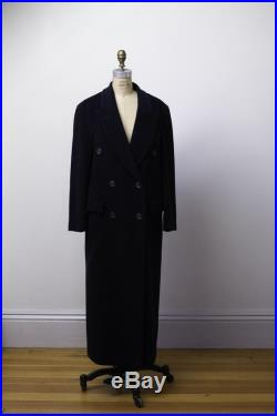 1980s Cashmere Angora Wool Blend Coat 80s Double Breasted Navy Blue Coat