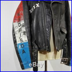 1980s Perfecto Schott vintage custom one off motorcycle jacket punk, size M 48 (see description) blue, red, white
