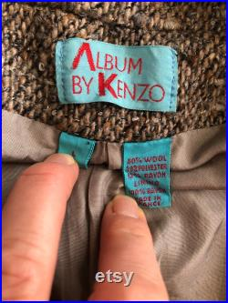 1990 s Album by Kenzo wool blend brown single breasted jacket coat, oversized