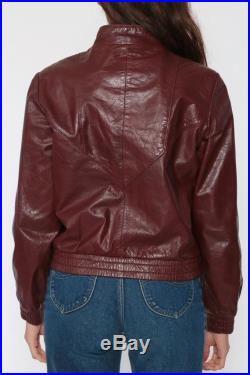 70s Leather Jacket Bomber Jacket Brown Zip Up Cafe Racer 1970s Moto Leather Bomber Burgundy Vintage Retro Seventies Coat Small