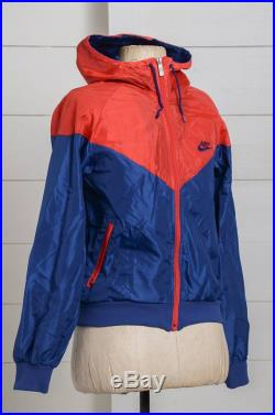 70s NIKE Hooded Made in U.K. Red and Blue Two Tone Hooded Nylon Lightweight Track Jacket