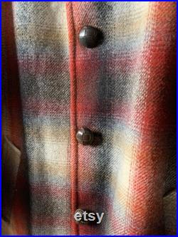 70s Pendleton plaid coat 1970s red, brown and gray wool plaid jacket with faux fur collar, mens size 42, Large, made in the USA