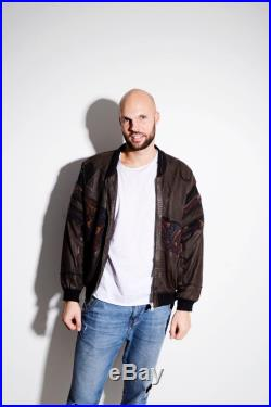 80's brown men's leather bomber jacket Old School fall autumn rave hipster bobo unique warm grunge retro coat outerwear Size Medium