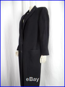 80s ISTANTE GIANNI VERSACE menswear wool cashmere double breasted black maxi coat Conservative Chic Mercedes Benz size IT44 US10