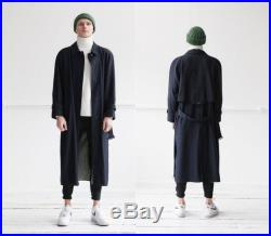 80s Navy Trench Coat made in FINLAND mens size M Oversized Duster Coat Womens L Belted Trench Coat Button Down Wool Trench Coat with lining
