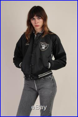 80s RAIDERS BOMBER jacket snap button satin pirate logo Los Angeles Oakland football striped ringer 1980s