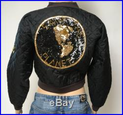 80s Sequin Jacket Quilted Folette Save The Planet Black Embroidered Patch Environmentalist Bolero Boho Streetwear