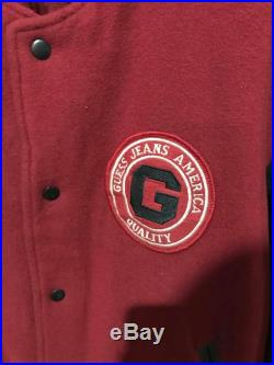 90s Guess Leather by Georges Marciano Varsity Bomber Jacket Size XL Free Shipping