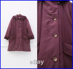 90s Large Oversize Puff Coat Quilted Velvet Collar Hood Maxi Coat Burgundy Layered Overcoat Womens Baggy Padded Coat 90s Style Outwear