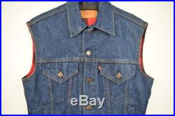 90s Levis Denim Vest Size Small Snap Button Blue Jean Jacket Red And