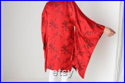 90s Pure SILK Chinese Dragon Red and Black Sweeping Weighted Sleeve Kimono Robe Duster