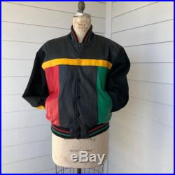 90s Rastafarian Leather Multi Color Bomber Jacker with Wool Sleeves