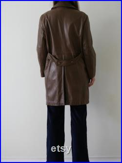 90s leather coat brown double breasted leather jacket