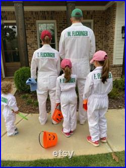 Adult White Caddie Uniform Coverall Boiler Suit Caddy With Custom Name and Number in Green Letters Augusta Georgia Official BRAND NEW