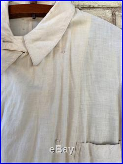 Antique Vtg 1910's 1920's Cream Colored Cotton Duster, Motor Coat Driving Jacket Unisex Adults, Button Up with Chinstrap, by Joseph Yeska