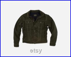 Army Green Canvas Jean Jacket Wool Lined