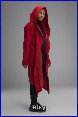 Asymmetric hooded coat, men red steampunk jacket, cosplay outfit, sci-fi long oversized cardigan, sith style hooded cloak, maxi cape, A0008
