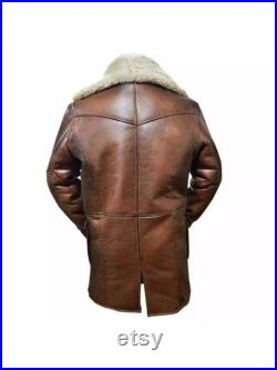 Bane Coat Real Sheep Leather and Fur Shearling Long Coat ft. Batman Dark Knight Winter Jacket Casual Outdoor leather coat with real fur