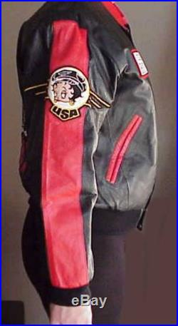 Betty Boop EZ Rider Hide Side Outfitters Leather Jacket with Embroidery and Patches NWT