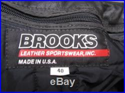 Black Leather Motorcycle Jacket Vintage Mens Brooks Leather Sportswear Traditional Biker Jacket Mens US Size 40 or Size Large Made in USA