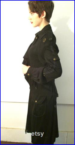 Black Rayon Knit Trenchcoat from Basia's Private Vintage Collection w free continental U.S. shipping