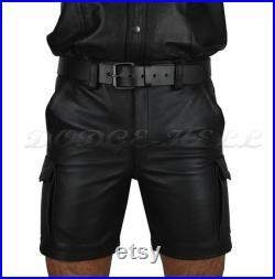 Black Real Leather Soft and Plain Cargo Shorts Combat Trousers leather Shorts