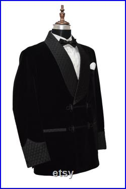 Black Smoking Jackets Quilted Lapel Frog Closure Dinner Party Wear Coats