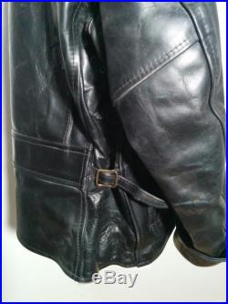 Black Zip Up leather Jacket made from horse hide with tartan lining
