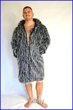 Black and White Faux Fur Coat with Hood