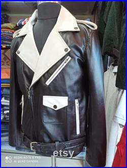 Black and White Genuine Leather Jacket For Men's Motorcycle Jacket Lambskin Jacket (All Size Available)