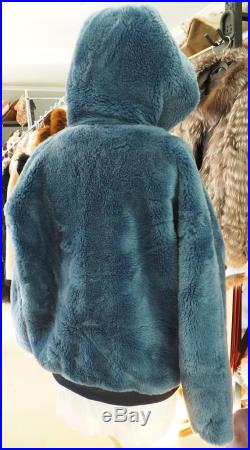 Blue Shearling Hooded Jacket Made from the Softest of Sheepskin Leathers Beat the Winter Wind