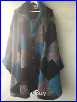 Boiled Wool Cape Coat Stunning Color Blocked Pattern