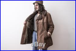 Brown Winter coat Jacket 70S Shearling Suede Overcoat Duster Long Leather Jacket Retro Winter Outerwear Parka Sherpa Clothing