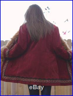 Burning Down the House Penny Lane Coat, Large, Shearling Coat, Embellished, Maroon, Faux Shearling Coat, Afghan Coat, Almost Famous Coat
