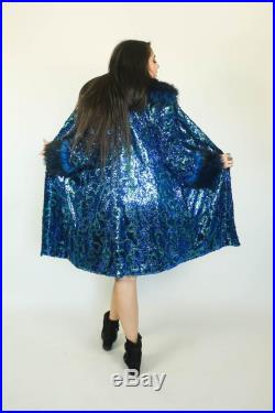 CUSTOM Ribbon Sequin Short Evening Coat by Sublime Designs-Your Choice of Lining and Furs