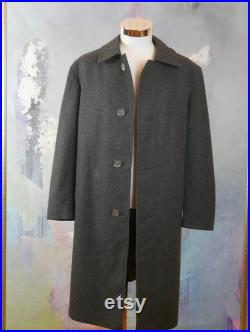 Charcoal Gray Wool Coat, 1990s Austrian Vintage Men's Loden Overcoat with Hammered Pewter Antique Coin Buttons Size XXL (46 US UK)