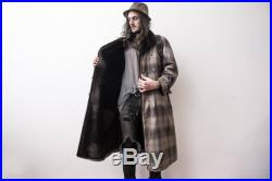Checked Coat 60s OverCoat Fur Lining Trench Coat Flannel Oversized The Penduline Manteau Veste Boho Coat