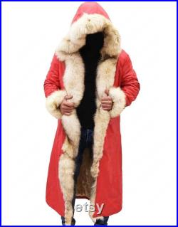 Christmas Chronicles Santa Clause, Long Coat for Men, Long Coat for Women, Red Real and Faux Leather Coat, Faux Shearling Trench Coat