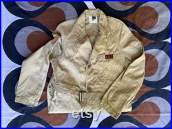 Classic Australian 1965 workwear duster overcoat with generous pockets and belt in khaki by CGCF for the PMG (now Australia Post), Medium