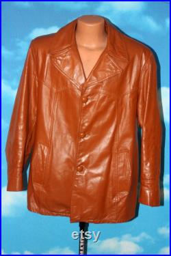 Cross Country Leather Jacket with Lining Made in Canada Medium Vintage 1970s