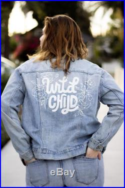 Custom Hand Painted Leather or Denim Jacket for Special Events Brides Bachelorette Wedding