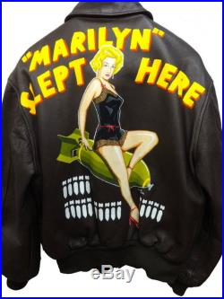 Custom Made to Order Vintage like Pinup Pin-up Girl Hand Painted Back Paint US Air Force USA Military Army Flight Bomber Jacket