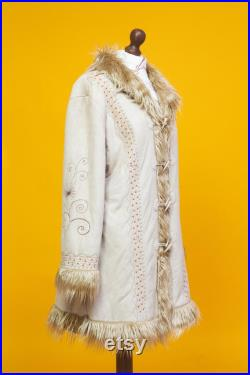Cute and groovy 1960s 1970s afghan inspired embroidered shaggy coat
